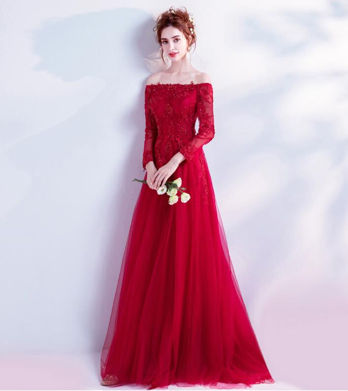Red Wedding Dresses.Wedding Dress Red Off Shoulder Dress Red Long Sleeves Dress Colored Racesless Wedding Ceremony Off Shawl Embroidery Princess Line Minidress