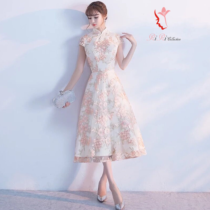Wedding Gowns Ri: Riricollection: Party Dress Mi-mollet Length Qipao Refined