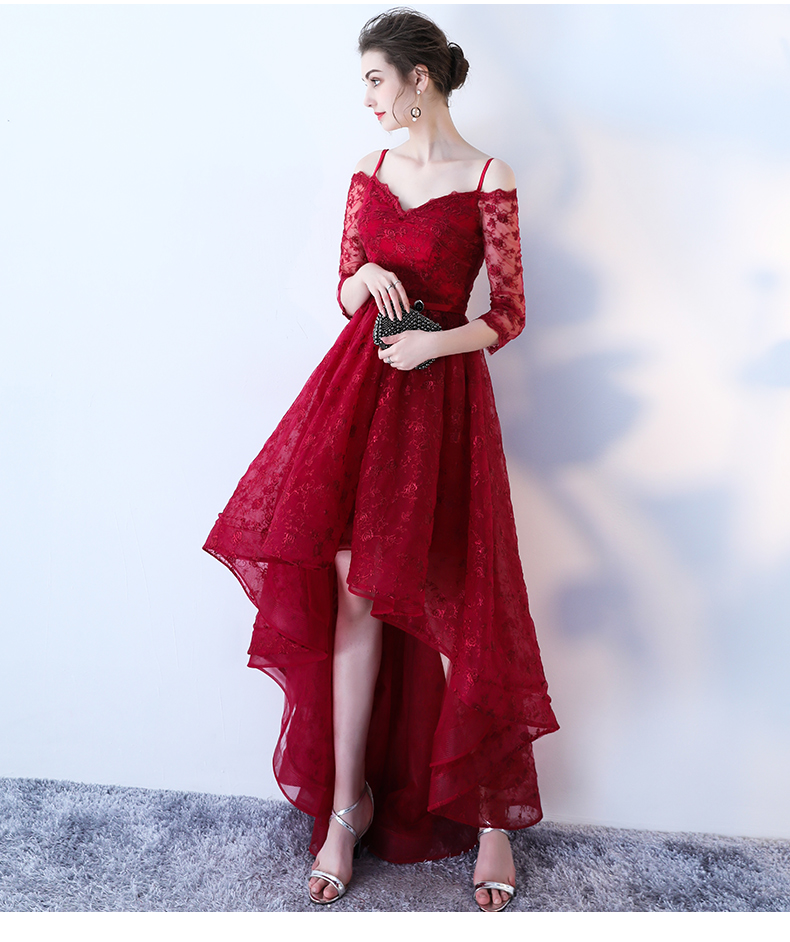 riricollection: Wedding dress red dress red half-length sleeves ...