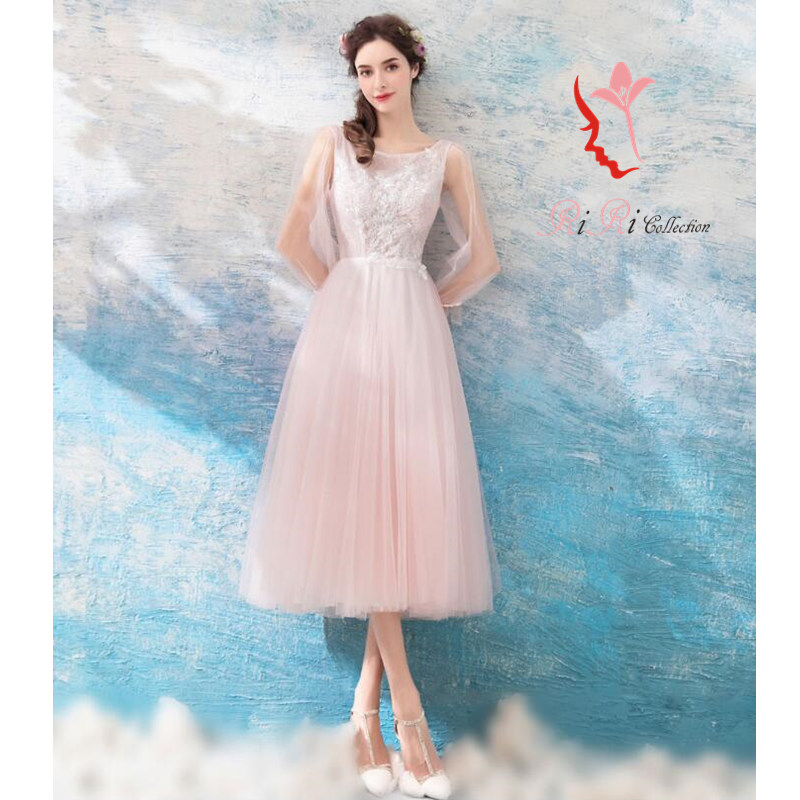 2018 new work party dress mi-mollet length light color refined second party dress forest girl angel dress laceup wedding ceremony banquet embroidery / ...