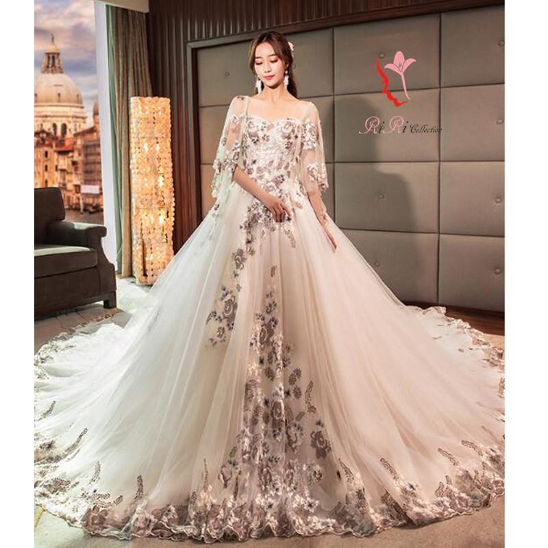riricollection | Rakuten Global Market: Long train dress floral ...