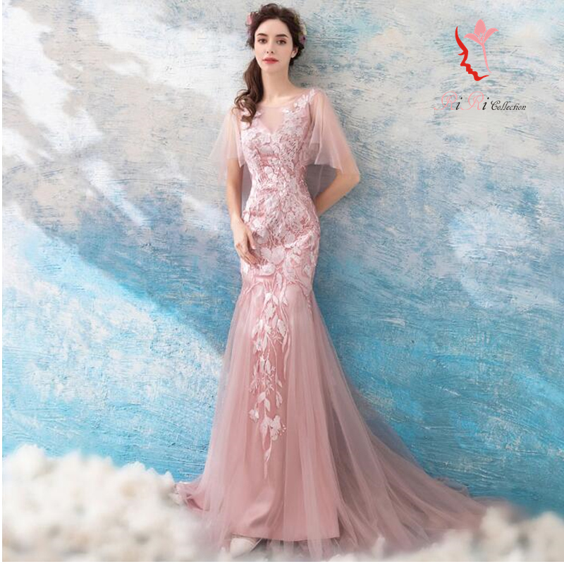 2018 latest colored racesless dress mermaid of superior grade light cherry tree pink laceup wedding ceremony banquet embroidery / princess line / ...