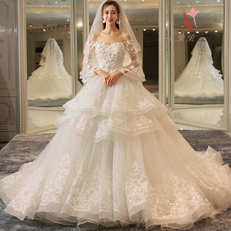 High Quality Wedding Dress White Long Train Laceup Go Japanese Agricultural Standards Long Sleeves Angel Refined Embroidery A Line Princess Line