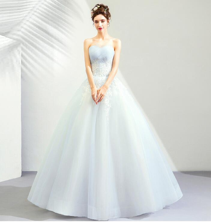 4bf5ed39e5c 2019 latest colored racesless refined light blue dress wedding ceremony  banquet embroidery   princess line ...
