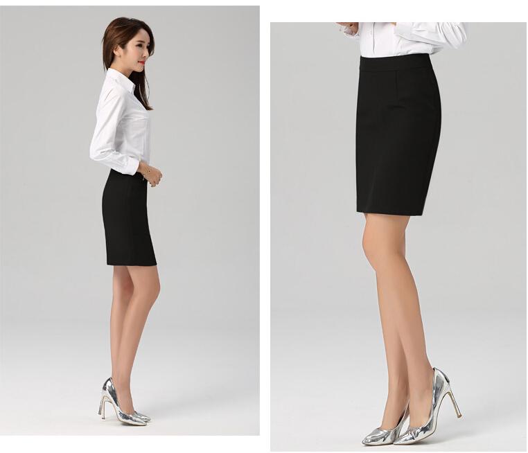 女士鉛筆裙子高雅經典簡單的黑色黑伸展裙子緊身裙辦公室裙子面試求職OL裙子大的尺寸SK-005