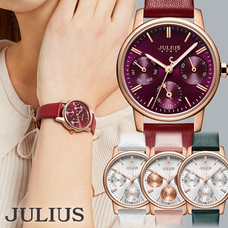 小さめクロノグラフ風WATCH 腕時計 レディース 防水 レディースウォッチ おしゃれ 人気 ファッション クロノグラフ 革ベルト 20代 30代 40代 JULIUS プレゼント ギフト 入学祝い 卒業 ホワイトデー 時計