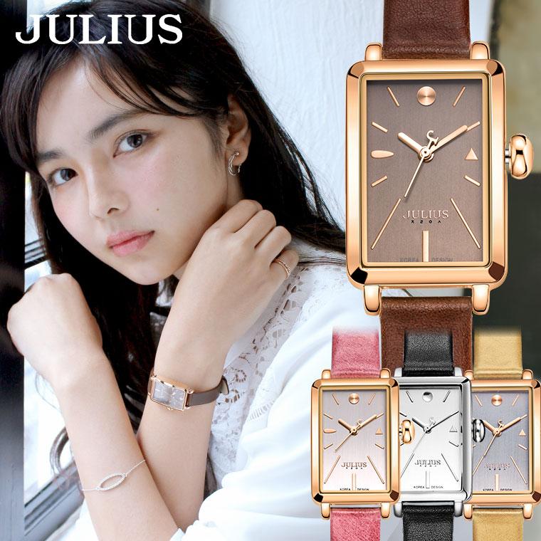 腕時計 レディース ブランド 防水 おしゃれ かわいい シンプル 10代 20代 30代 40代 スクエア型 上品 四角 革ベルト JULIUS プレゼント ギフト 入学祝い 卒業 ホワイトデー 時計