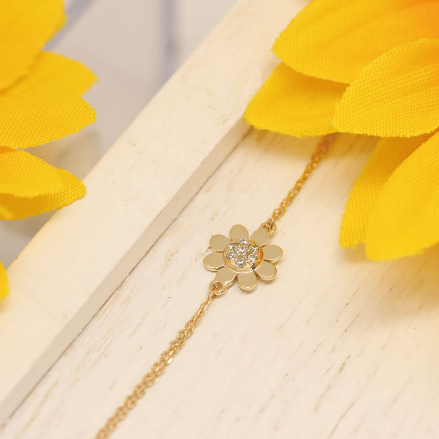 7f34f00715a5e Woman presentation born in K14 sunflower sunflower bracelet sunflower  14-karat gold gold bracelet two chain sunflower summer
