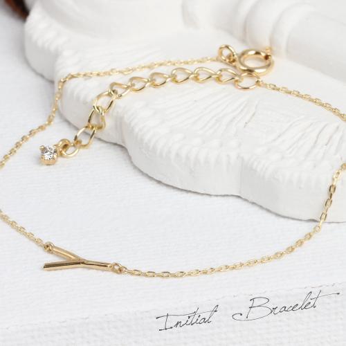 K18 18金 18k イニシャルブレスレット 一粒 ダイヤモンド付 ゴールド レディス ハンドメイド【ラッピングの状態でお届け】