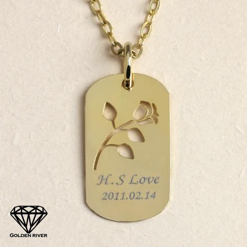 【送料無料】刻印無料 K18 18金 ネームネックレス イニシャルネックレス 金色の薔薇ゴールドプレート ※代引不可※ 名入れ可 ラッピング無料