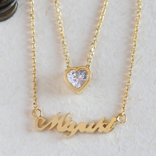 6df1e3d2d95b8 Hold the name before two type her K18 18-karat gold 18k name necklace  initial name necklaces name; possible Lady's
