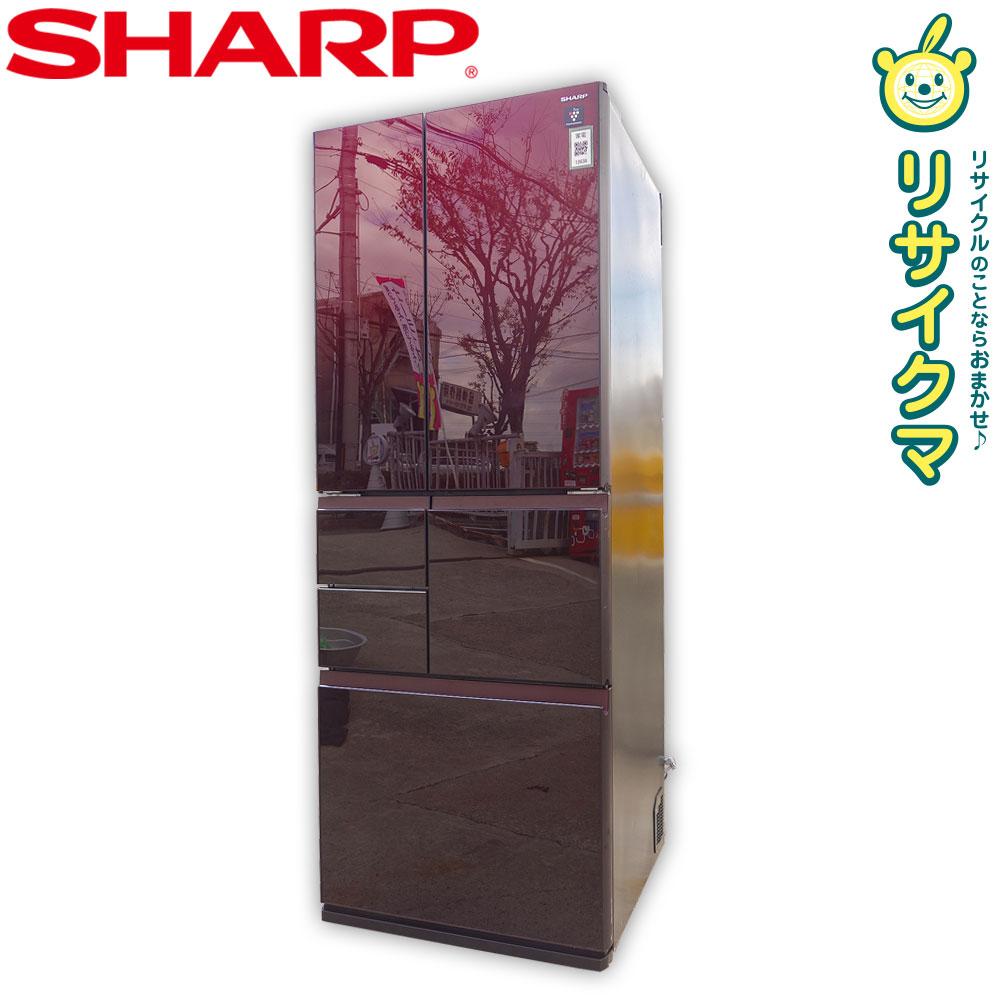 【中古】D▼シャープ 冷蔵庫 505L 2017年 6ドア 自動製氷 フレンチドア 観音開き プラズマクラスター搭載 SJ-GT51C (12638)
