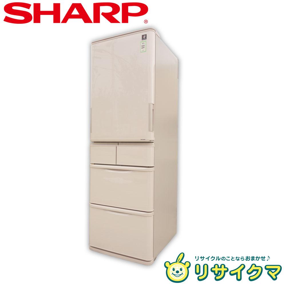 【中古】D▼シャープ 冷蔵庫 412L 2017年 5ドア 両開き 自動製氷 プラズマクラスター搭載 SJ-PW41C (12397)