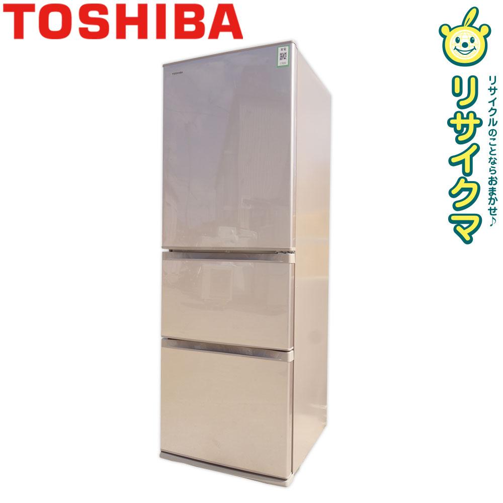 【中古】O▼東芝 冷蔵庫 363L 2016年 3ドア 自動製氷うるおいラップ野菜室 GR-H38S (17020)