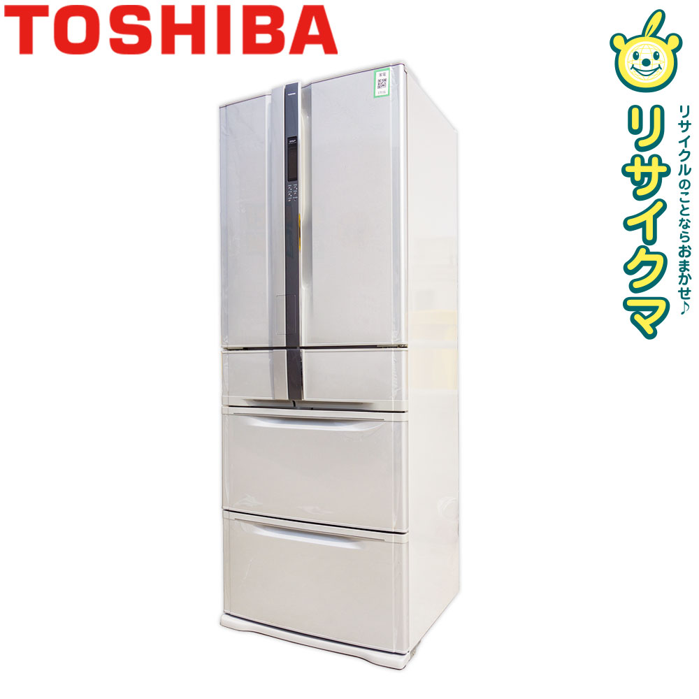 【中古】O▼東芝 冷蔵庫 422L 6ドア フレンチドア 観音開き 自動製氷 GR-W42FS (17115)