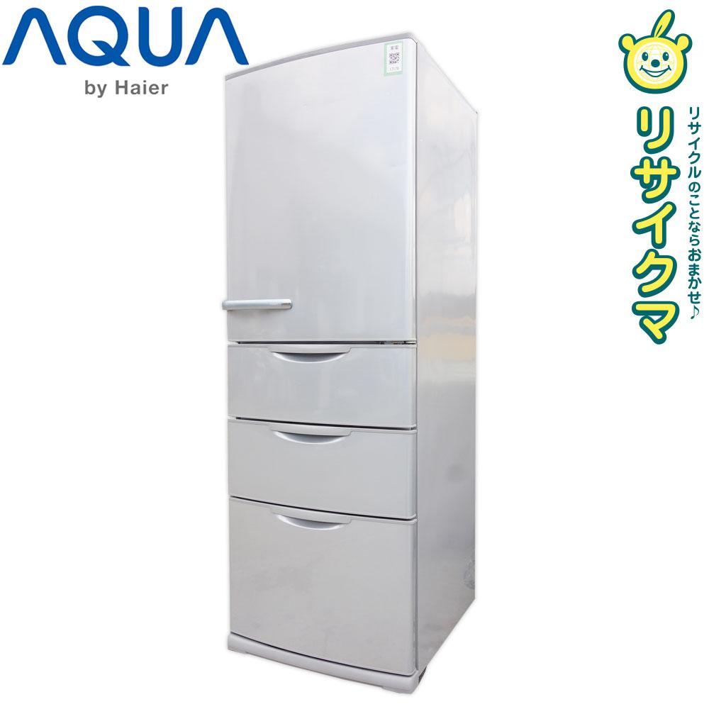 【中古】O▼アクア 冷蔵庫 355L 2015年 4ドア まん中2段フリーザー シルバー AQR-36D2 (17179)