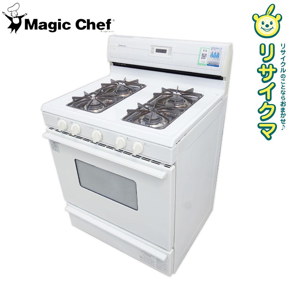 【中古】M▽Magic Chef マジックシェフ ガスレンジオーブン ガスコンロ 都市ガス 4口 ホワイト CGR1420BDW (17233)