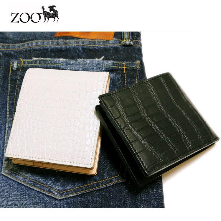 zoo正規取扱店【ZOO/ズー】クロコダイル(ワニ革) 2つ折り革財布 ブラック/ホワイト【メンズ/日本製/二つ折り財布/送料無料】