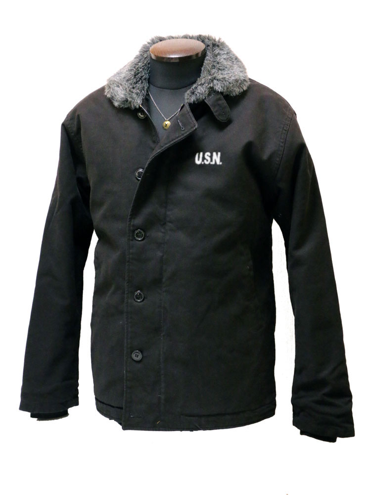 ボア仕様 N-1ジャケット デッキジャケット 黒 ブラック【メンズ/アメカジ/バイカー/バイク乗り/N1】