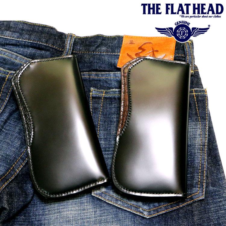 THE FLAT HEAD(ザ・フラットヘッド) SEMI LONG WALLETクロコダイル&コードバン セミロング革財布【メンズ/アメカジ/フラヘ/バイカー/長財布/日本製/送料無料】