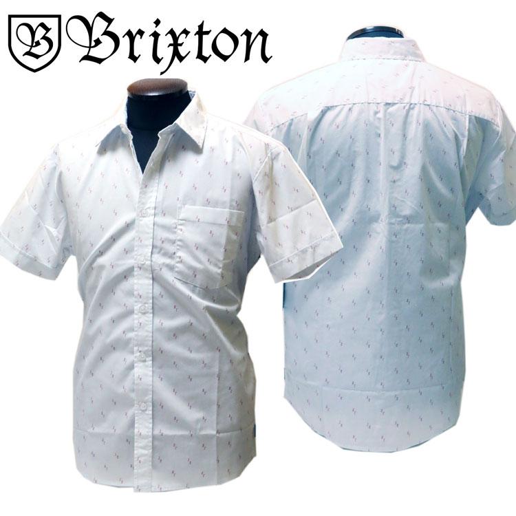 BRIXTON(ブリクストン) 半袖シャツ ライトブルー【メンズ/ロック/バイカー/サーファー/スケーター/サーフ】