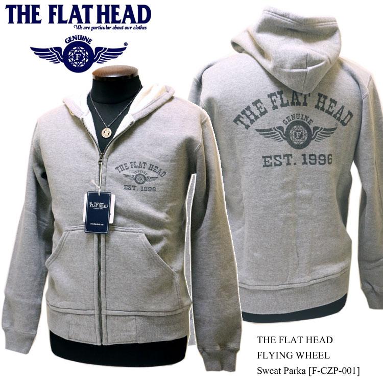 """THE FLAT HEAD(ザ・フラットヘッド) フルジップ スウェットパーカー""""フライングホイール""""グレー F-CZP-101【メンズ/アメカジ/フラヘ/バイカー/日本製】"""