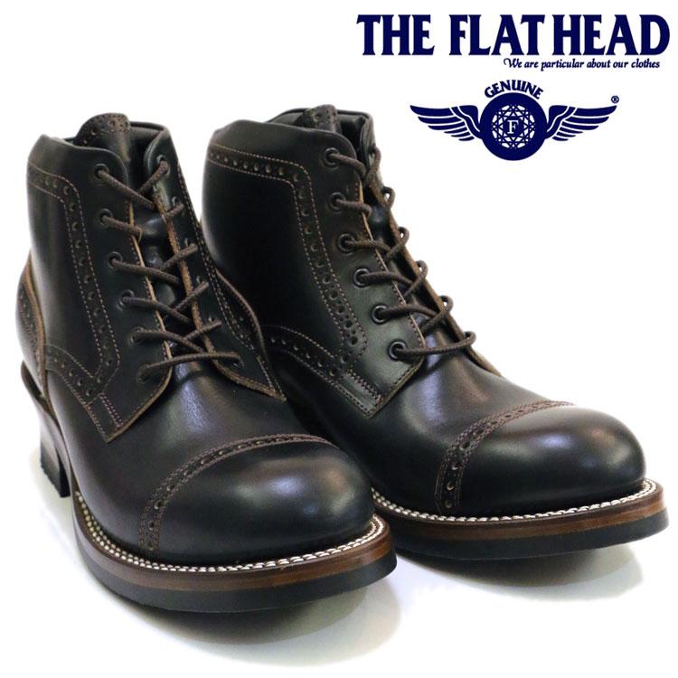 THE FLAT HEAD ザ フラットヘッド メダリオン レースアップ ブーツ 黒 ブラック 日本製 ワークブーツ 靴 F-FB-002クロムエクセルレザー バイカー 送料無料 休み アメカジ メンズ グッドイヤー製法 超美品再入荷品質至上 フラヘ