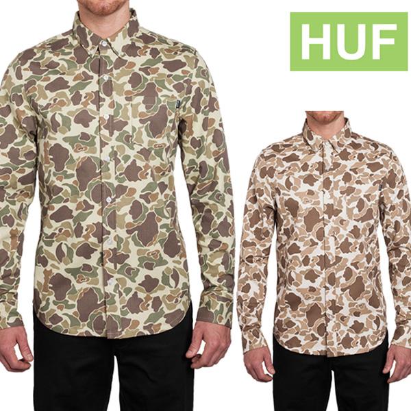 【クーポンでさらに100円OFF】HUF DUCK CAMO L/S WOVEN ハフ ダック カモ ロング スリーブ 迷彩 シャツ BU51002 huf181
