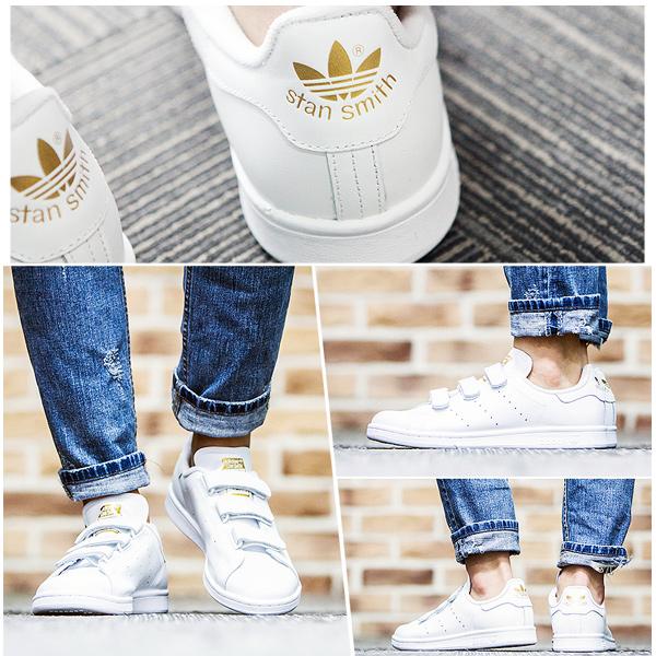 Adidas Stan Smith adidas STAN SMITH CF S75188 Velcro white gold Lady's men sneakers ads66