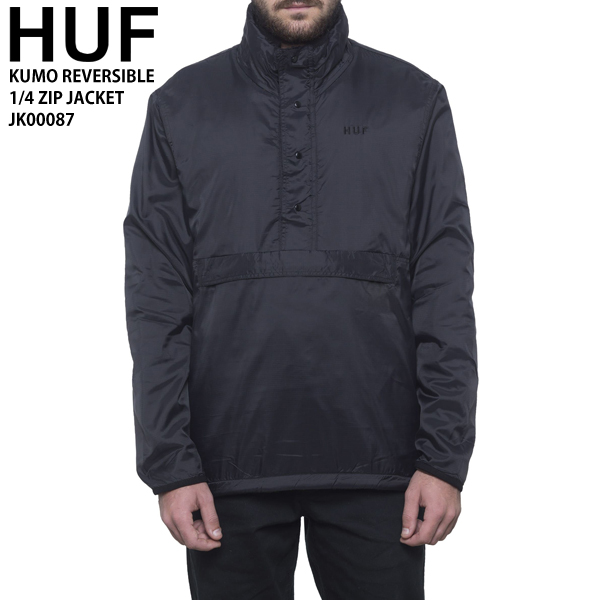 HUF ハフ メンズ アウター リバーシブル プルオーバー ハーフジップ ブラック カモフラ JK00087 KUMO REVERSIBLE 1/4 ZIP JACKET huf606