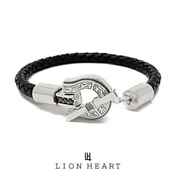 ライオンハート LUCK カービングレザーブレスレット 01BR0581SV LION HEART 馬蹄 シルバー [LH]