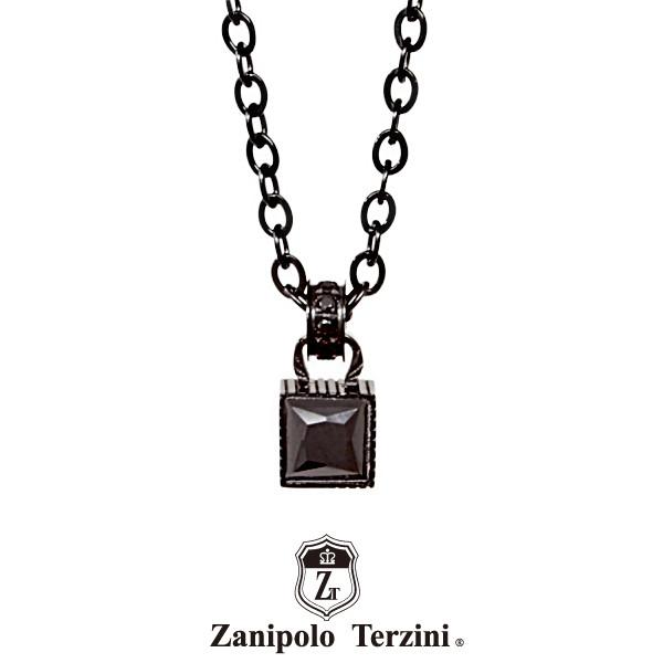 ザニポロタルツィーニ ストーンネックレス ブラック ZTP3709BKBK Zanipolo Terzini メンズ ステンレス 金属アレルギー対応 [ZT]