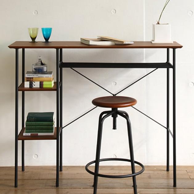 anthem アンセム カウンターテーブル カウンターテーブル 木製 幅120cm 奥行40cm ウォールナット レトロ カウンターデスク キッチンテーブル