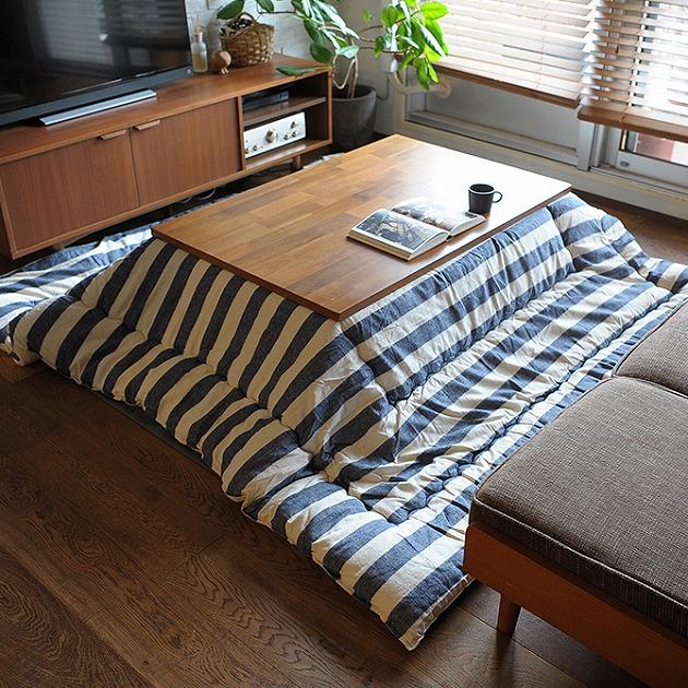 BORDER インド綿 こたつ布団 長方形 掛け単品 約205×245cm こたつ コタツ ふとん 掛け 長方形 おしゃれ ラグ 炬燵 ボーダー インド綿