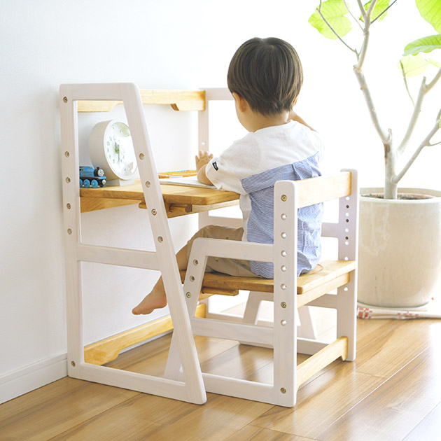 こどもと暮らしオリジナル New Milk デスクセット  キッズデスク デスク チェア セット テーブル 木製 子供 机 椅子 勉強机 子ども 北欧 ナチュラル  【あす楽対応】