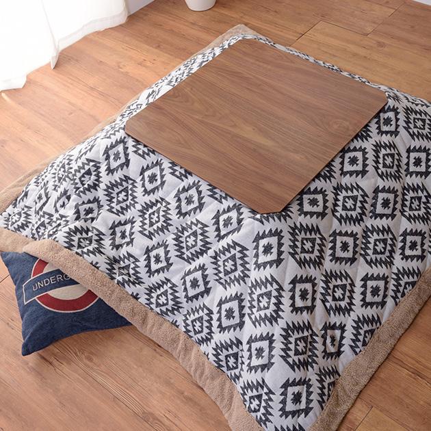 ウォルナット 正方形こたつテーブル 幅75cm  こたつ コタツ 炬燵 こたつテーブル ローテーブル 木目 ブラウン 男前 正方形