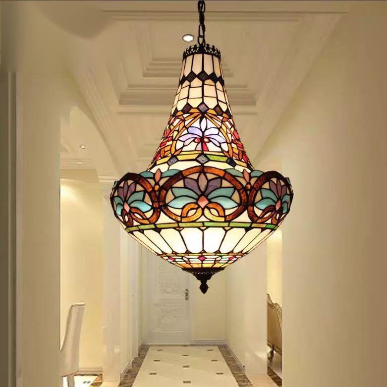 ステンドグラス ペンダントライト 豪華天井照明ステンドグラスランプ ガラス工芸品 40cm