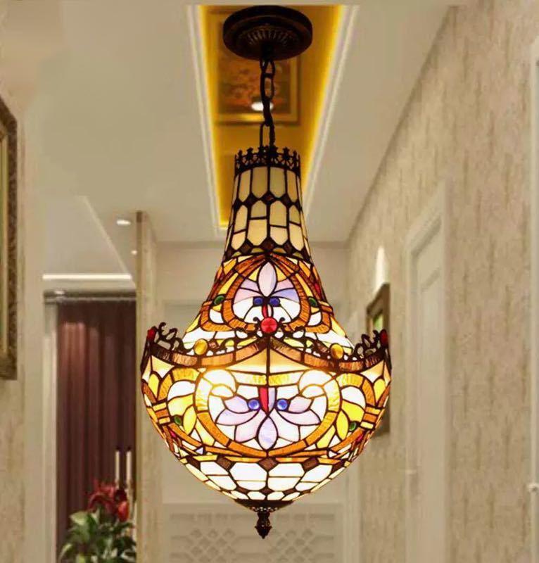 ~生活をカラフルオシャレに~ ステンドグラス 人気急上昇 ペンダントライト ガラス工芸品 30cm 豪華天井照明ステンドグラスランプ 新作