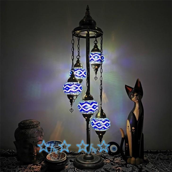 ~生活をカラフルオシャレに~ 5灯モザイクランプ 入手困難 トルコランプガラス照明アンティーク調フロアライト フロアスタンド 祝日