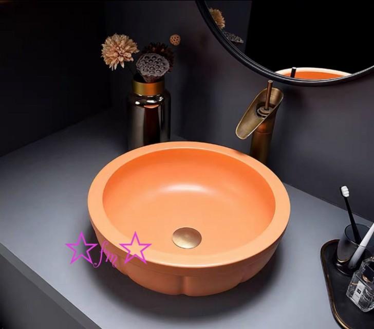 ~生活をカラフルオシャレに~ 上質 高級洗面台 洗面ボウルセット 洗面ボール 陶器 保証 手水鉢 .手洗器 洗面器 排水金具付き 手洗い鉢 蛇口