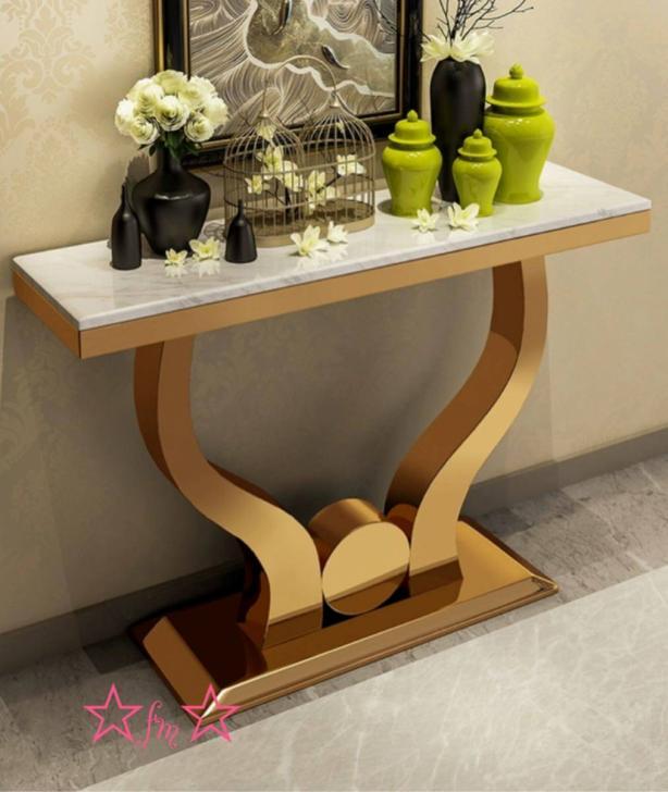 高級大理石サイドテーブル コンソールテーブル 玄関テーブル 花台 .電話台 アンティーク調デザイン 幅100cm