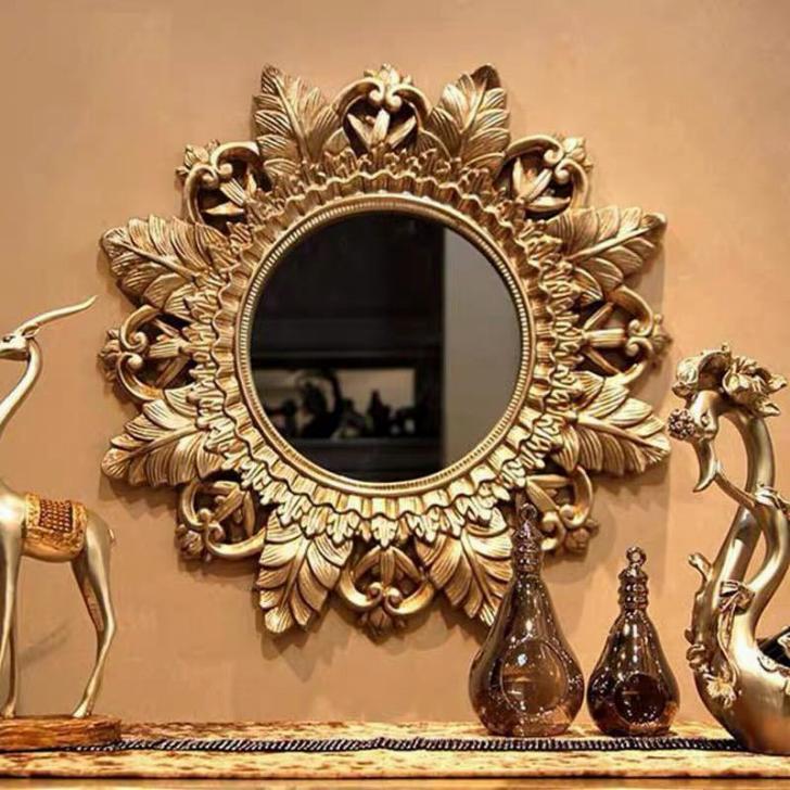 壁掛け鏡 壁掛け 壁掛けミラー ウォールミラ 80cm 高級豪華鏡 アンティーク調