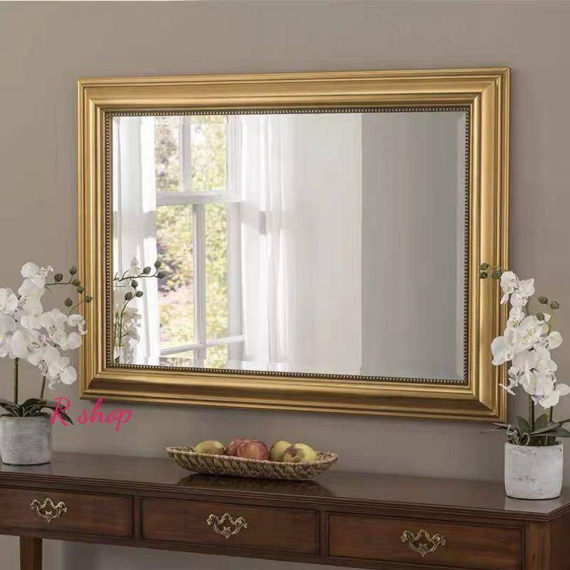 大型ミラー吊鏡 .壁掛け鏡 壁掛けミラー 豪華ウォールミラ 高級豪華鏡 アンティーク調 100x70cm