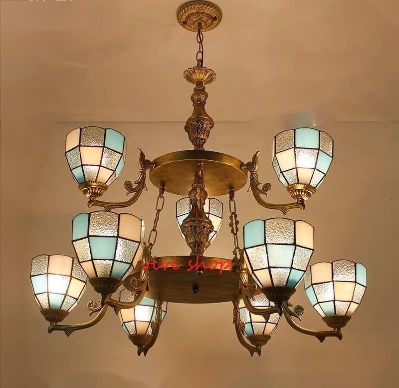 ~生活をカラフルオシャレに~ 結婚祝い ステンドグラス ペンダントライト.豪華天井照明ステンドグラスランプ 9灯 高級天井照明 祝日 ガラス工芸品