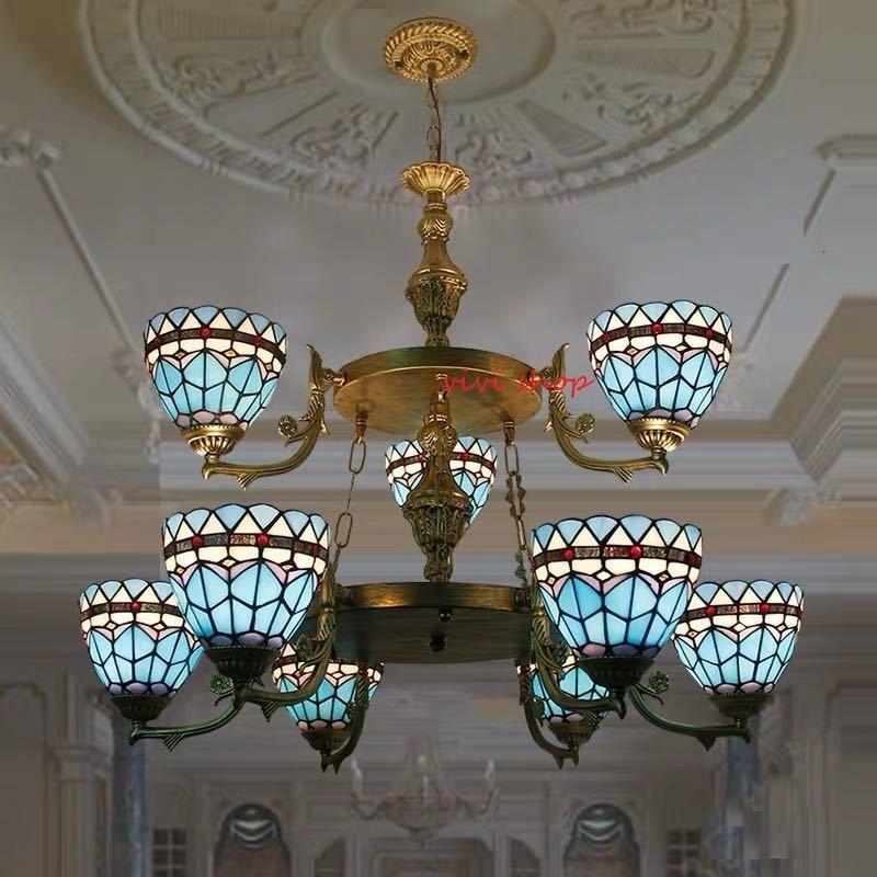 国内即発送 ~生活をカラフルオシャレに~ ステンドグラス ペンダントライト豪華天井照明ステンドグラスランプ ガラス工芸品 出荷 高級天井照明