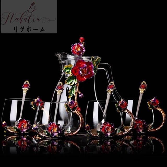 花柄ガラス製 花柄ガラス製 ティーカップ セット食器 コーヒーカップ 豪華カップセット