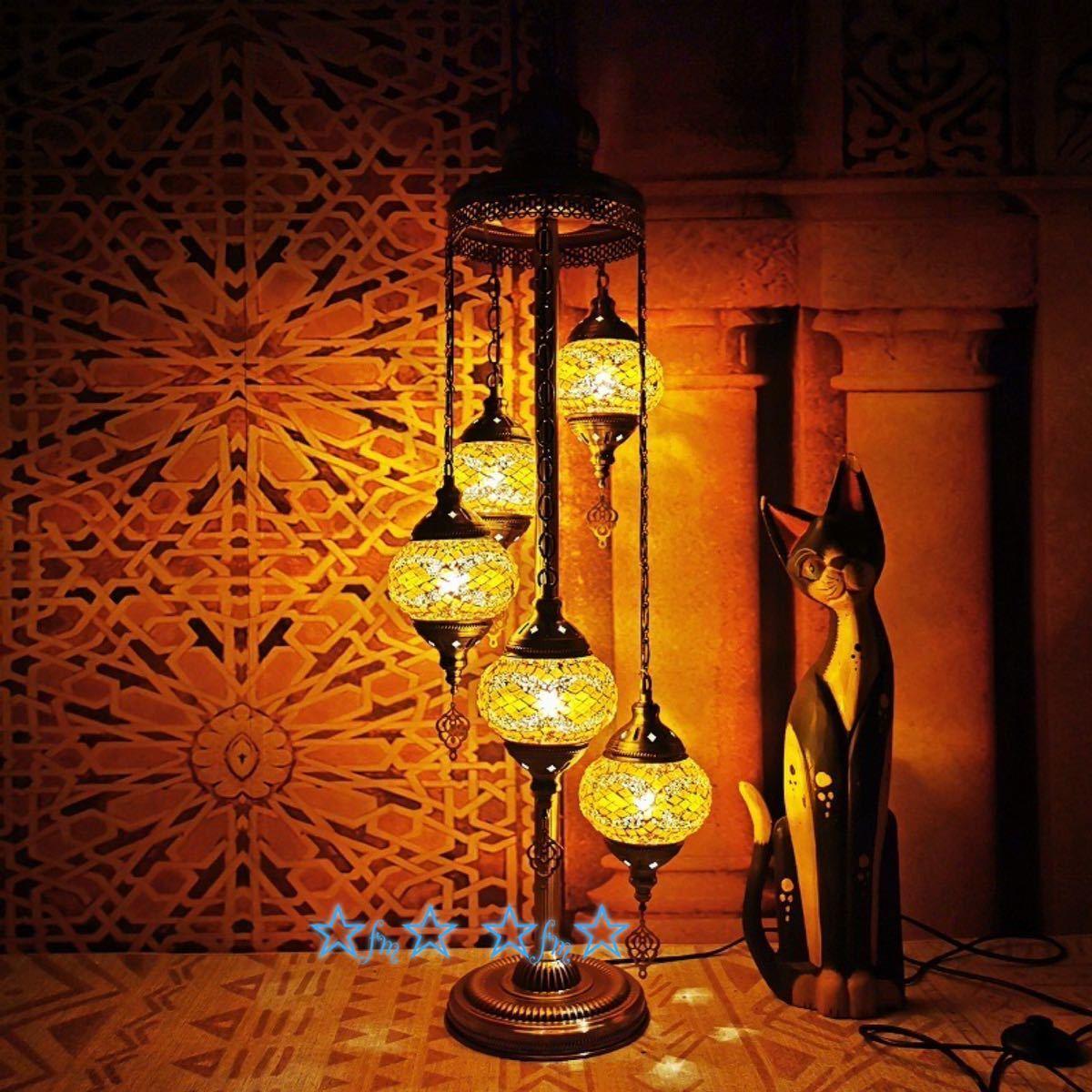 暖かい温もりを 5灯モザイクランプ 再入荷 予約販売 トルコランプガラス照明アンティーク調フロアライト 国内正規品 フロアスタンド