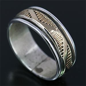 送料無料 インディアンジュエリー ブルースモーガン シルバー 14K ゴールド メンズ レディース 高級な アクセサリー 指輪 ナバホ族 Morgan ウォーターウエーブ 5☆好評 3.5号 Bruce 1 4 リング 6号