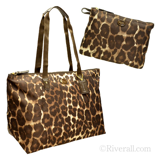 Coach Bags Leopard Folding Tote Bag Mahogany Multi Na Iroon F77405b4m1 Outlet Purchase