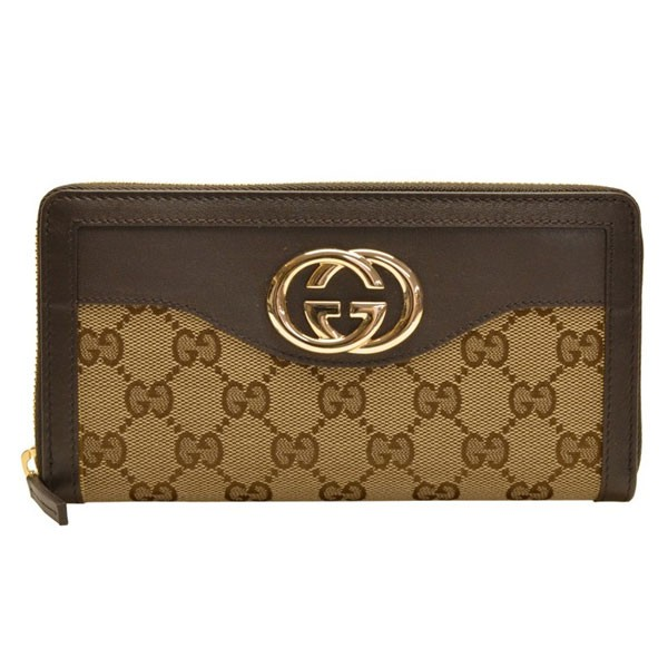 3f333782fb2 riverall  Gucci wallet GUCCI round fastener long wallet Sioux key  SUKEY  Lady s beige x dark brown GG canvas x leather 308012fafxg9643